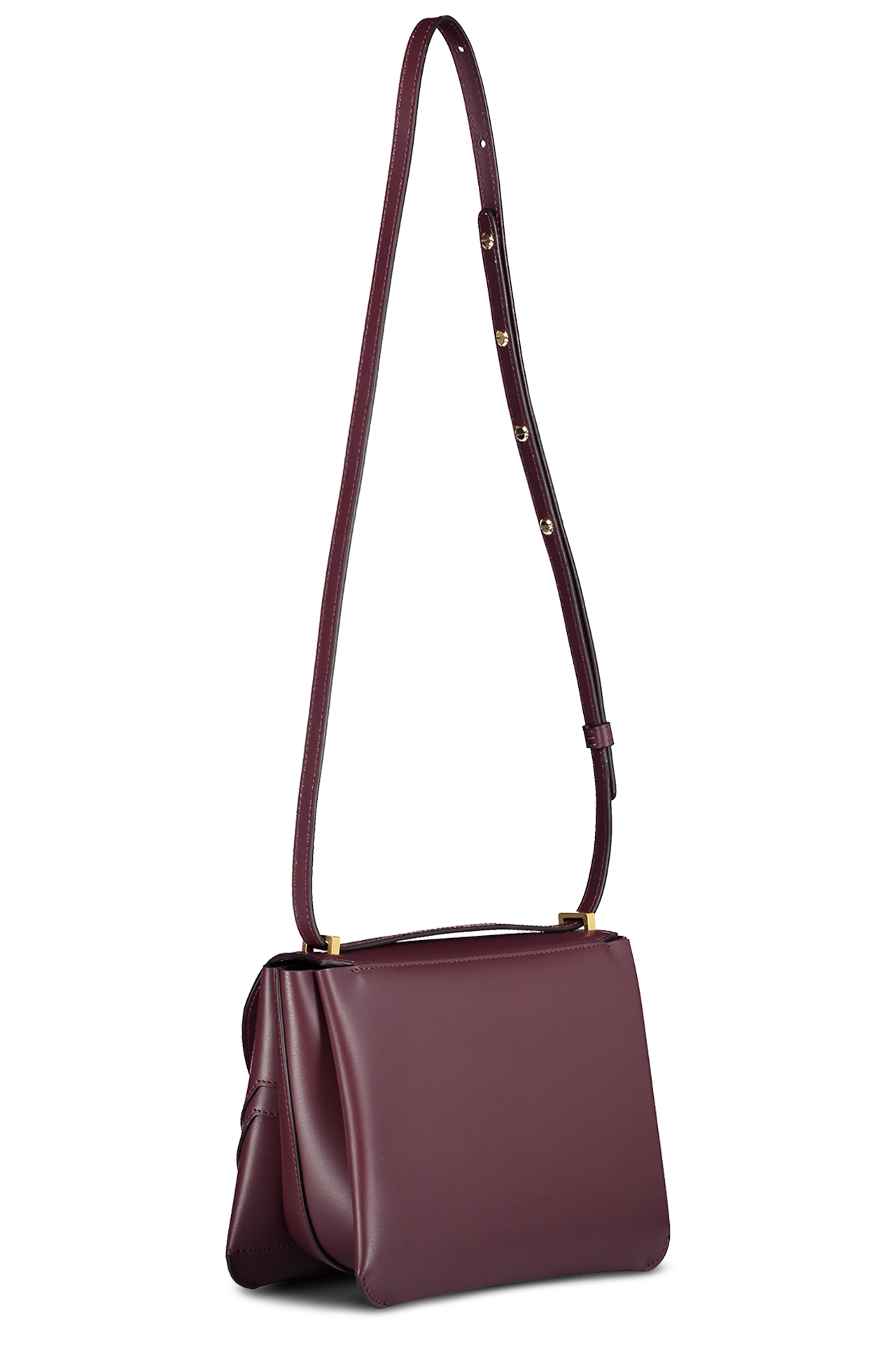 Back angled view image of Wandler Luna Arch Bag Calf Leather Wine