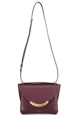 Full front view image of Wandler Luna Arch Bag Calf Leather Wine