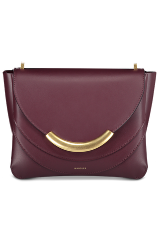 Front detail image of Wandler Luna Arch Bag Calf Leather Wine