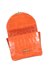 Front view image of Wandler Luna Mini Bag Croco Calf Leather Spicy with open flap