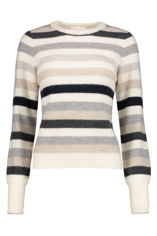 Front image of White & Warren Bold Stripe Sweatshirt