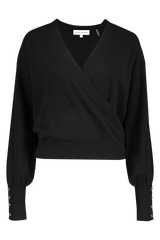 Front view image of White & Warren Women's Button Cuff Wrap Top Black