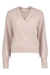 Front view image of White & Warren Button Cuff Wrap Top Truffle Heather
