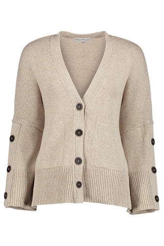 Button Sleeve Cardigan Natural