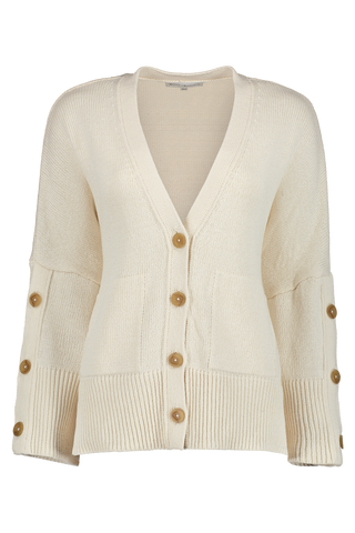 Button Sleeve Cardigan Off White