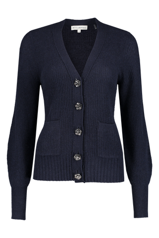 Front view image of White & Warren Crystal Button Cardigan Deep Navy
