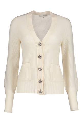 Front view image of White & Warren Crystal Button Cardigan Pearl White