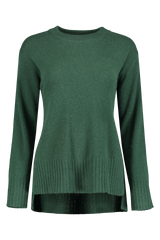 Front view image of White & Warren Easy Wide Rib Hem Sweater Fire Heather