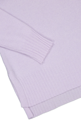 Hemline and cuff detail image of White & Warren Easy Wide Rib Hem Sweater Silver Lilac