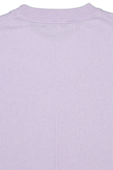 Back collar detail image of White & Warren Easy Wide Rib Hem Sweater Silver Lilac