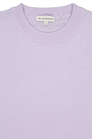 Front collar detail image of White & Warren Easy Wide Rib Hem Sweater Silver Lilac
