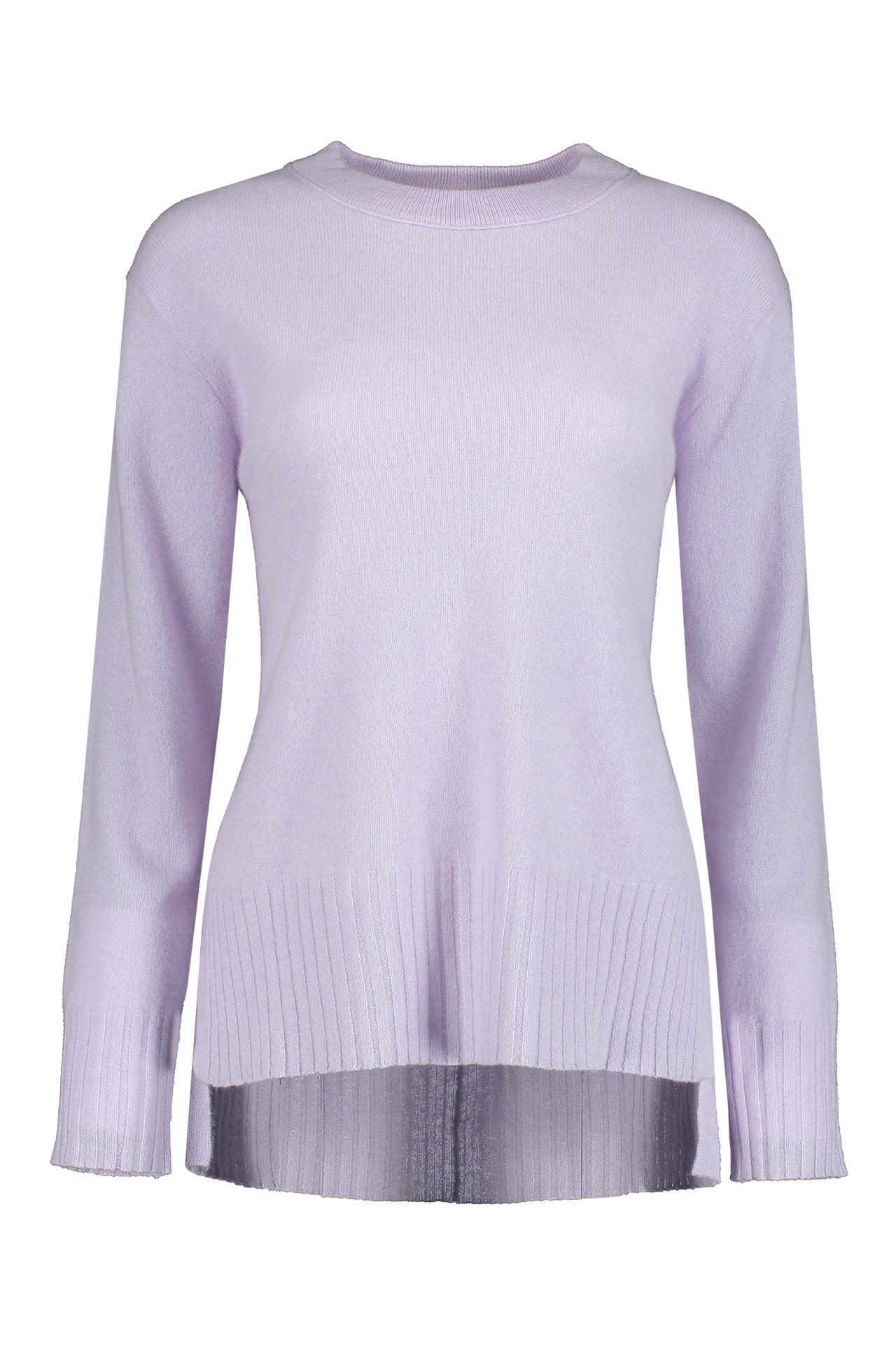 Front view image of White & Warren Easy Wide Rib Hem Sweater Silver Lilac