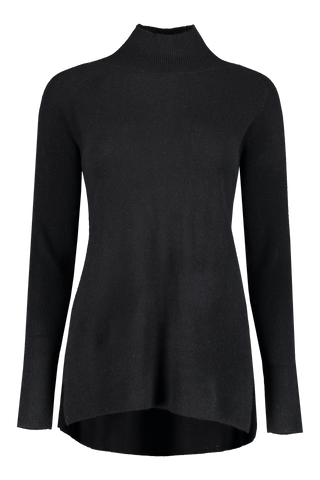 Front view image of White & Warren Eliptical Hem Turtleneck Sweater Black