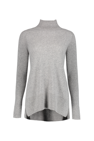 Front view image of White & Warren Eliptical Hem Standneck Sweater Grey