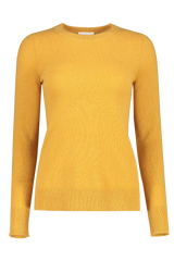 Front view image of White & Warren Women's Essential Crewneck Sweater Gold