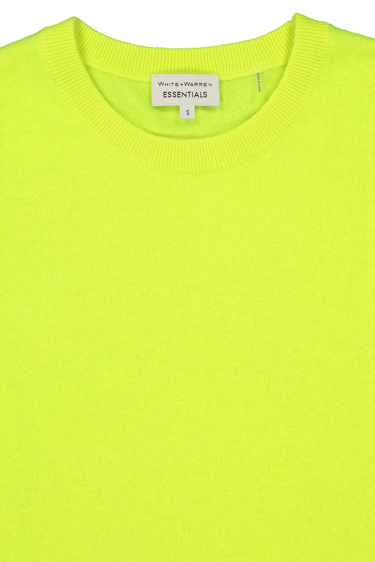 Front neckline detail image of White & Warren Essential Crewneck Sweater Neon Pineapple