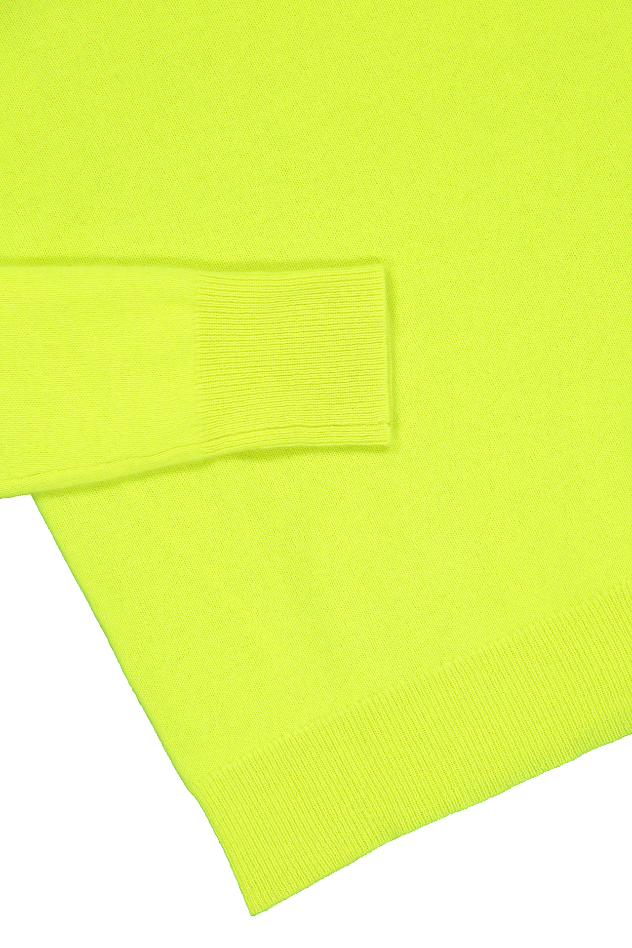 Hemline and cuff detail image of White & Warren Essential Crewneck Sweater Neon Pineapple