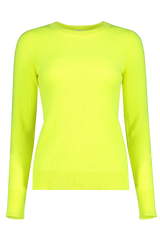 Front view image of White & Warren Essential Crewneck Sweater Neon Pineapple
