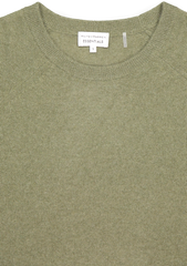 Front neckline detail image of White & Warren Essential Sweatshirt Olive Heather