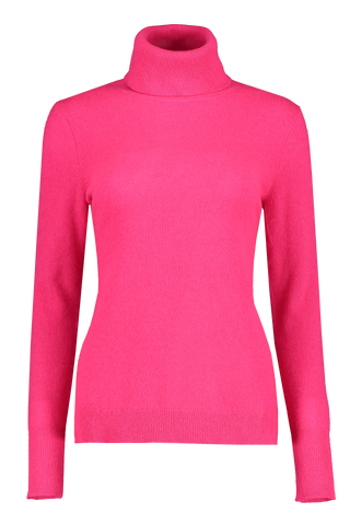 Front Image of White and Warren Turtleneck Neon Magenta