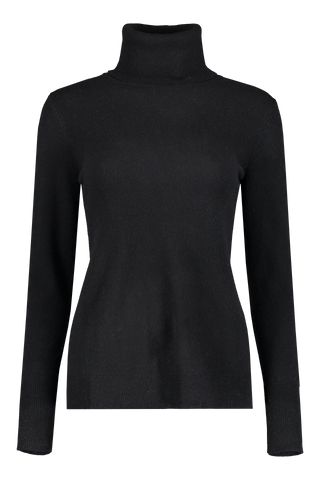 Front view image of White & Warren Women's Essential Turtleneck Sweater Black