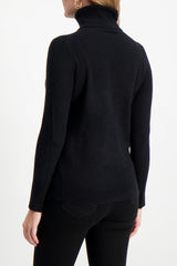 Back Crop Image Of Model Wearing White & Warren Women's Essential Turtleneck Sweater Black