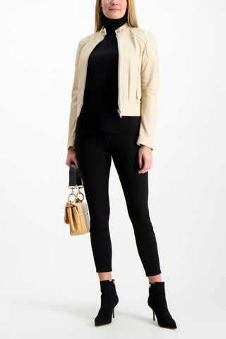 Full Body Image Of Model Wearing White & Warren Women's Essential Turtleneck Sweater Black