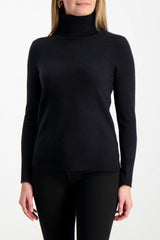 Front Crop Image Of Model Wearing White & Warren Women's Essential Turtleneck Sweater Black
