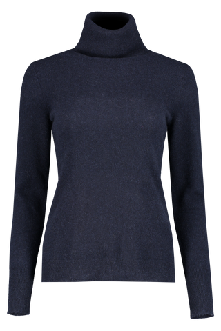 Front view image of White & Warren Essential Turtleneck Sweater Deep Navy