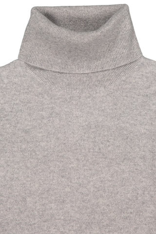 Front collar detail image of White & Warren Essential Turtleneck Sweater Grey Heather