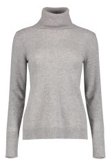 Front view image of White & Warren Essential Turtleneck Sweater Grey Heather