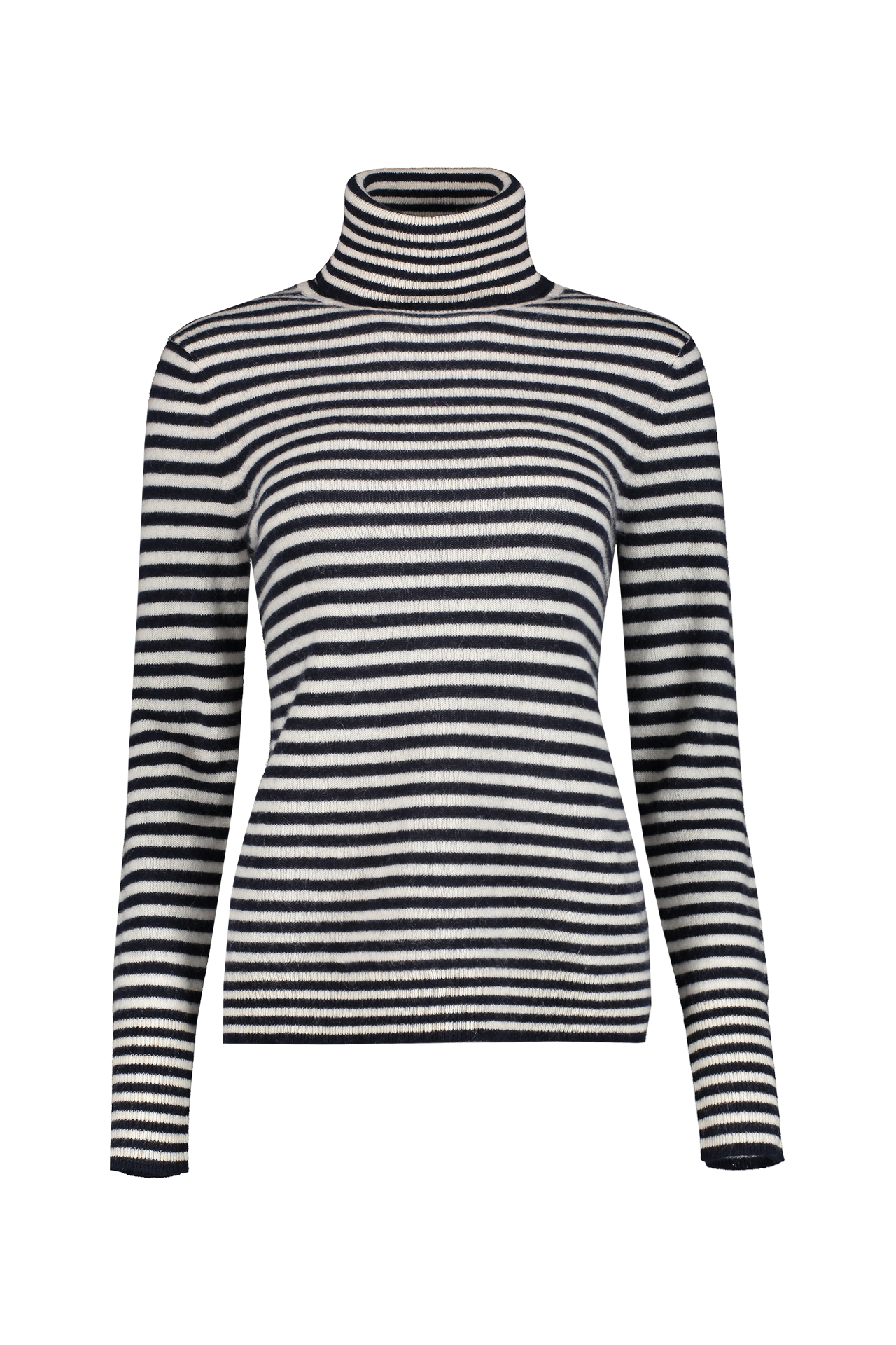 Front view image of White & Warren Striped Essential Turtleneck Navy Pearl