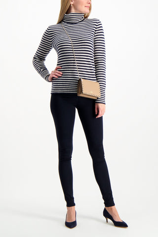 Full Body Image Of Model Wearing White & Warren Striped Essential Turtleneck Navy Pearl