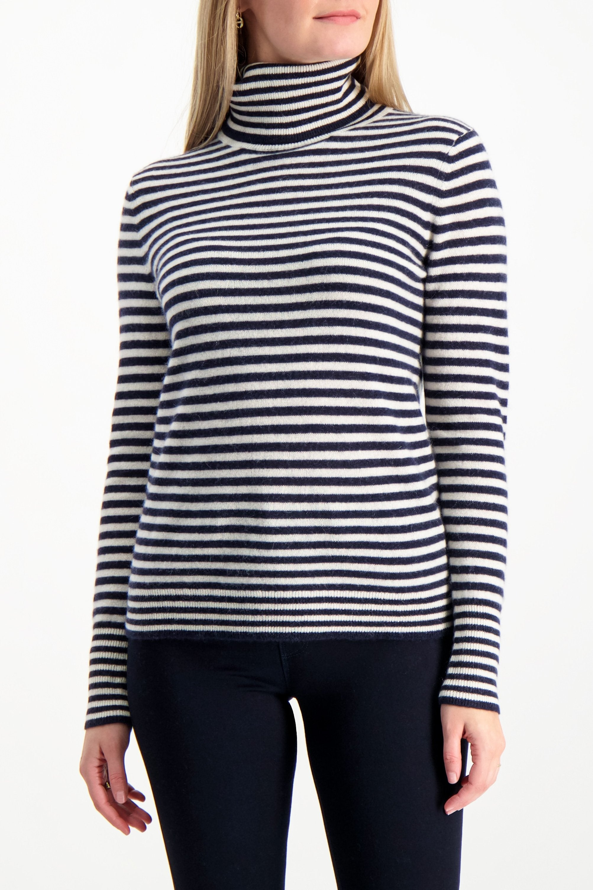 Front Crop Image Of Model Wearing White & Warren Striped Essential Turtleneck Navy Pearl