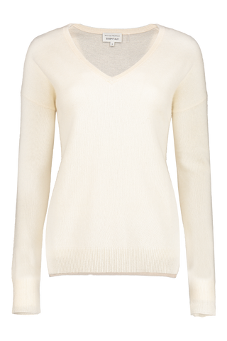 Essential V-Neck Sweater Pearl White
