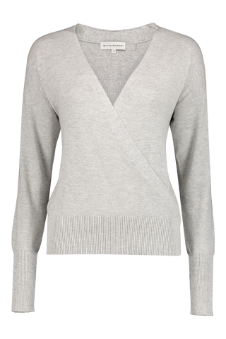 Front image of White & Warren Women's Faux Wrap Pullover Chromium