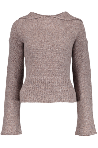 LUXE RIBBED COLLAR PULLOVER SPARROW MARL