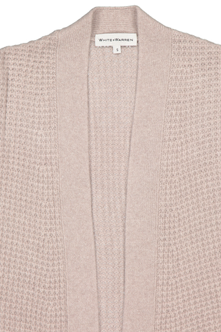 Front collar detail image of White & Warren Oversized Waffle Coatigan Truffle Heather