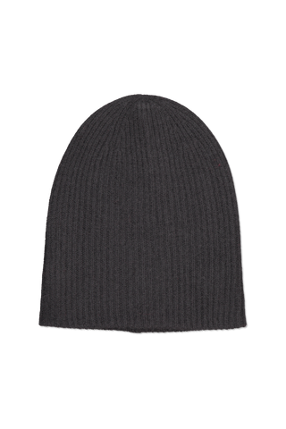 Front image of White & Warren Women's Plush Rib Beanie Black