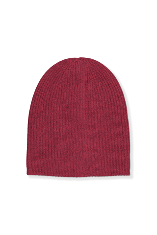 Front image of White & Warren Women's Rib Beanie Dark Maroon Heather