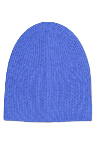 Front image of White & Warren Women's Plush Rib Beanie Optic Blue