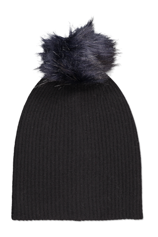 Plush Rib Pom Beanie Black/Navy