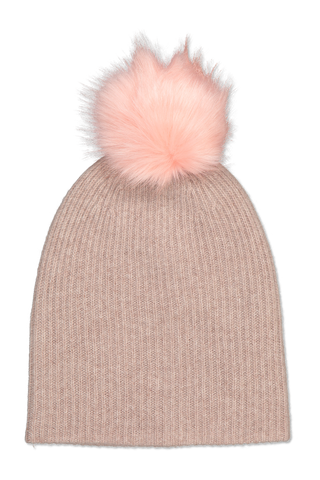 Front image of White & Warren Rib Pom Beanie Chinchilla Heather/Pink