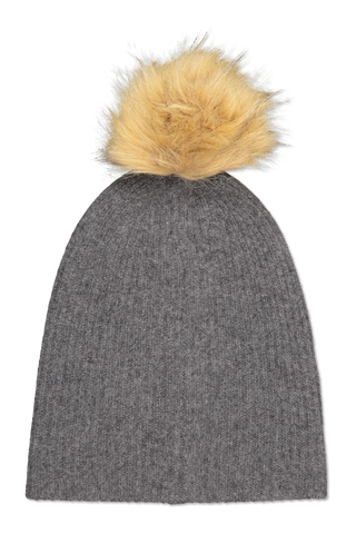 Front image of White & Warren Rib Pom Beanie Shadow Heather/Natural