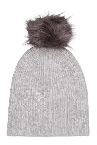 Front image of White & Warren Plush Rib Pom Beanie Smoke Heather/Grey