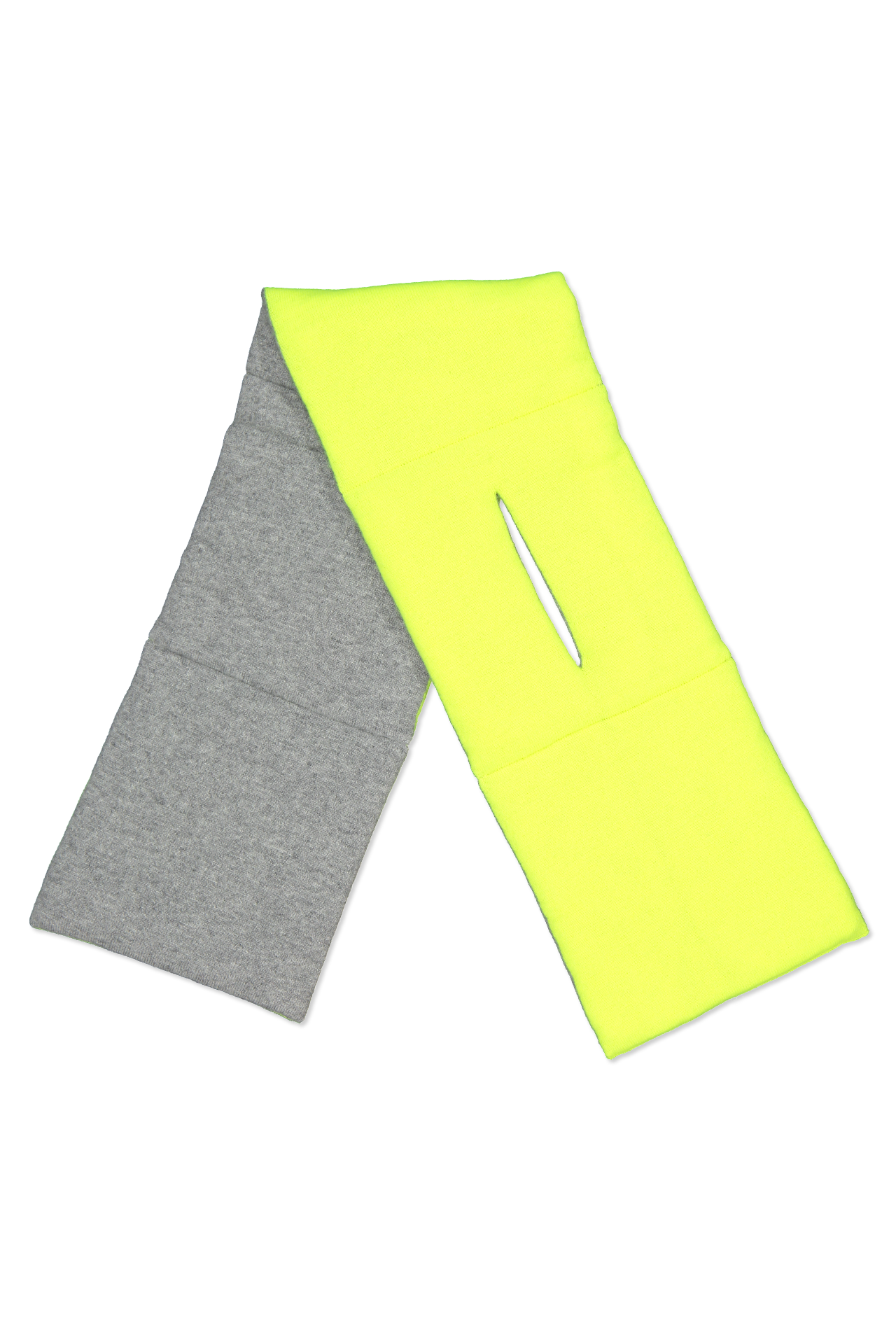 Front open view image of White & Warren Puffer Scarf Grey/Neon Pineapple