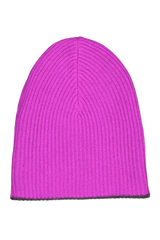 Inside view image of White & Warren Reversible Plush Rib Beanie Charcoal/Pink