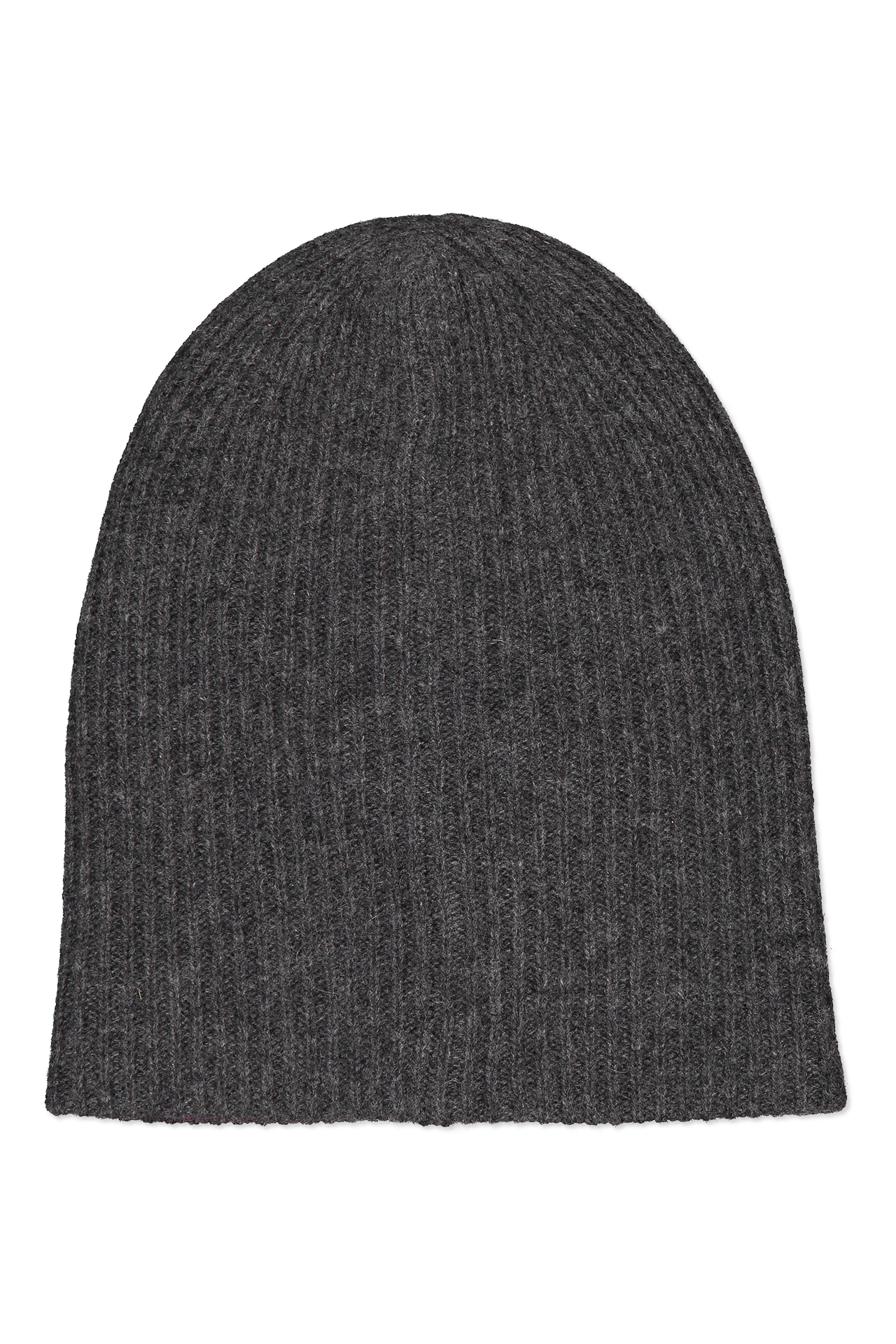 Front view image of White & Warren Reversible Plush Rib Beanie Charcoal/Pink