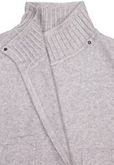 Front collar detail image of White & Warren Women's Rib Trim Coatigan Gravel