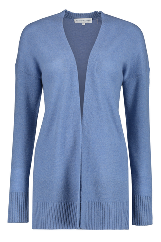 Rib Trim Open Cardigan Blue